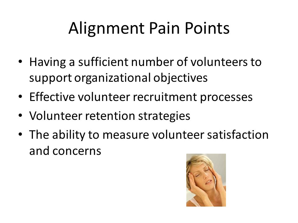 Alignment Pain Points Having a sufficient number of volunteers to support organizational objectives.