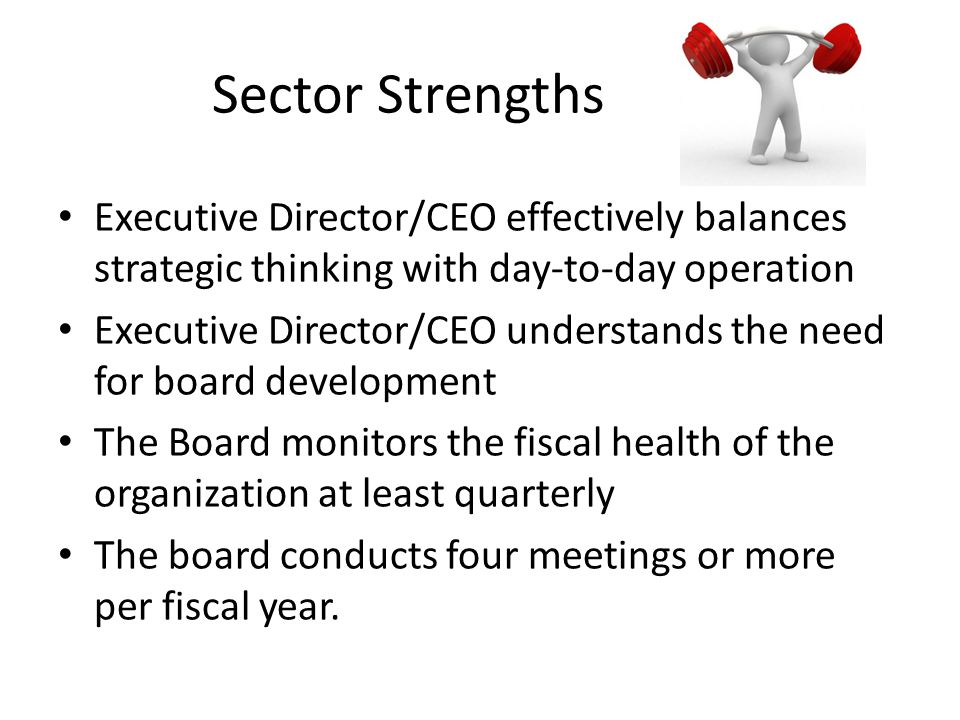 Sector Strengths Executive Director/CEO effectively balances strategic thinking with day-to-day operation.