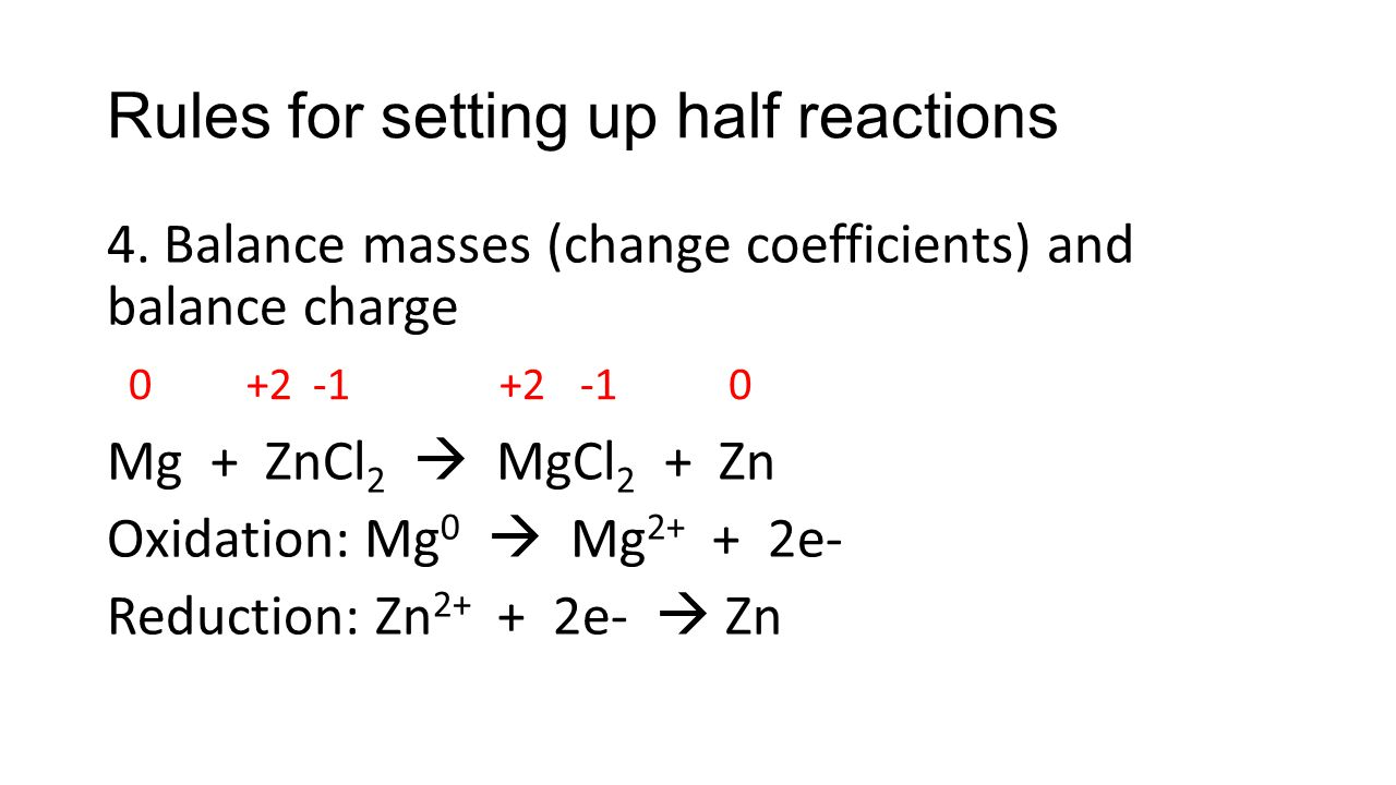 how to decide which half reaction used