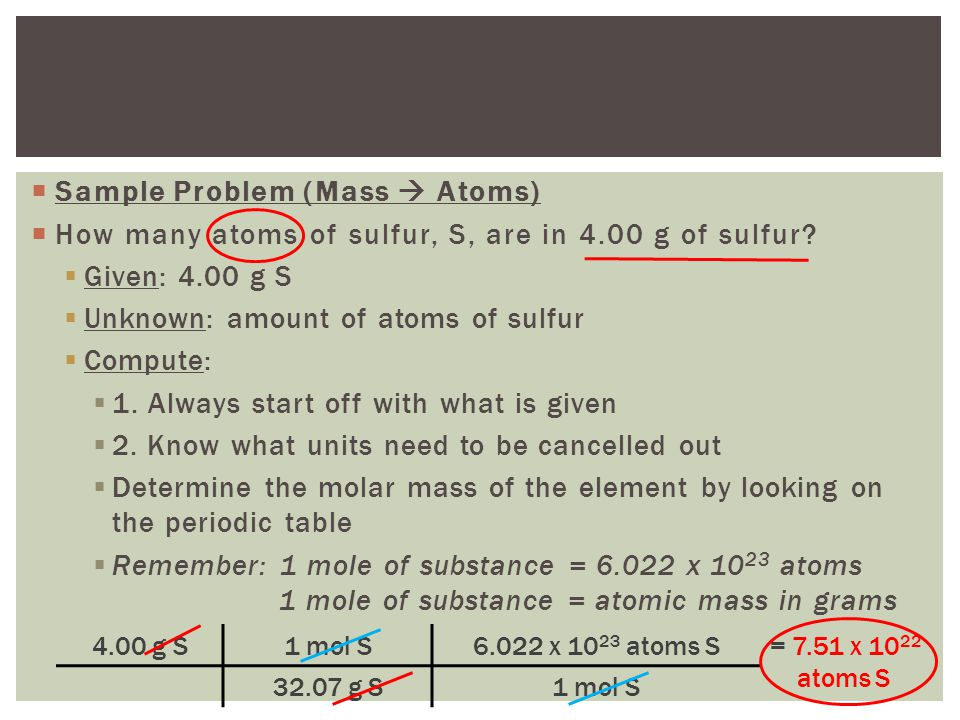 Relating mass to number of atoms ppt video online download sample problem mass atoms urtaz Image collections