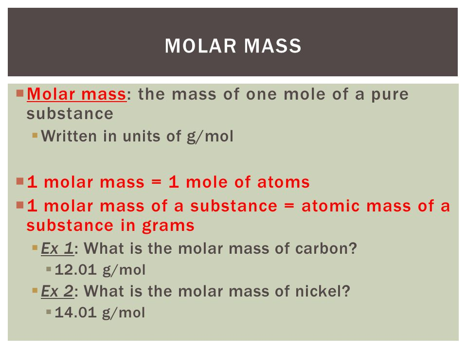 Relating mass to number of atoms ppt video online download 5 molar mass molar mass the urtaz Image collections