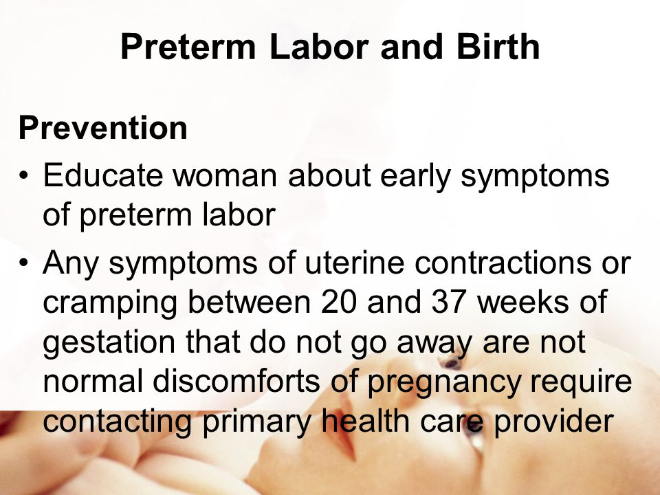 risks of preterm labour delivery Does hpv infection increase the risk of preterm birth premature birth statistics a preterm birth is one that (2010) gestational age at delivery and.