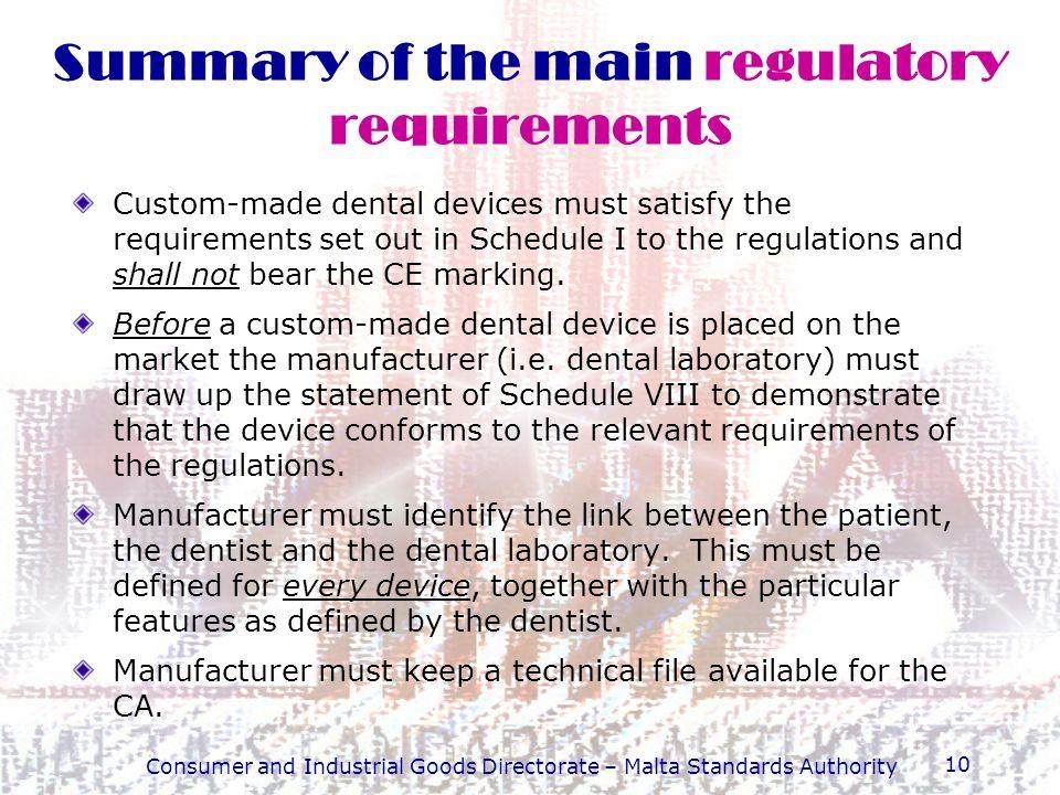 Summary of the main regulatory requirements