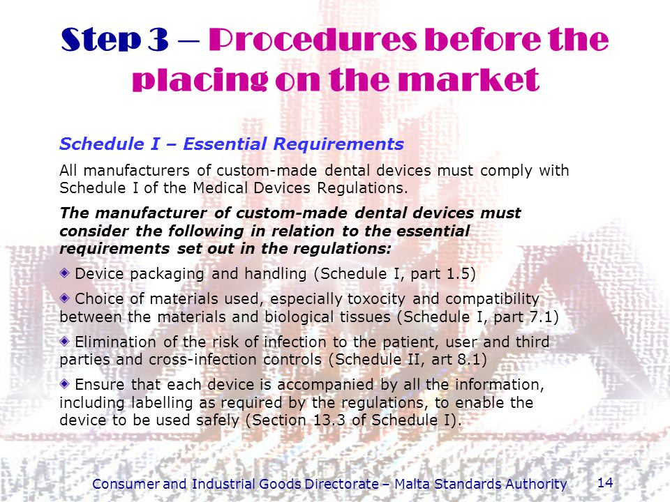 Step 3 – Procedures before the placing on the market