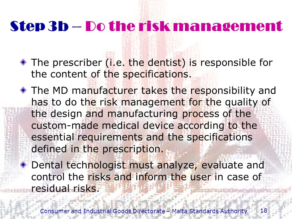 Step 3b – Do the risk management