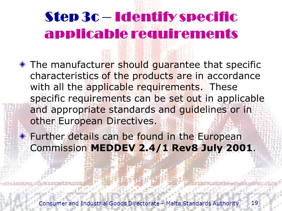 Step 3c – Identify specific applicable requirements