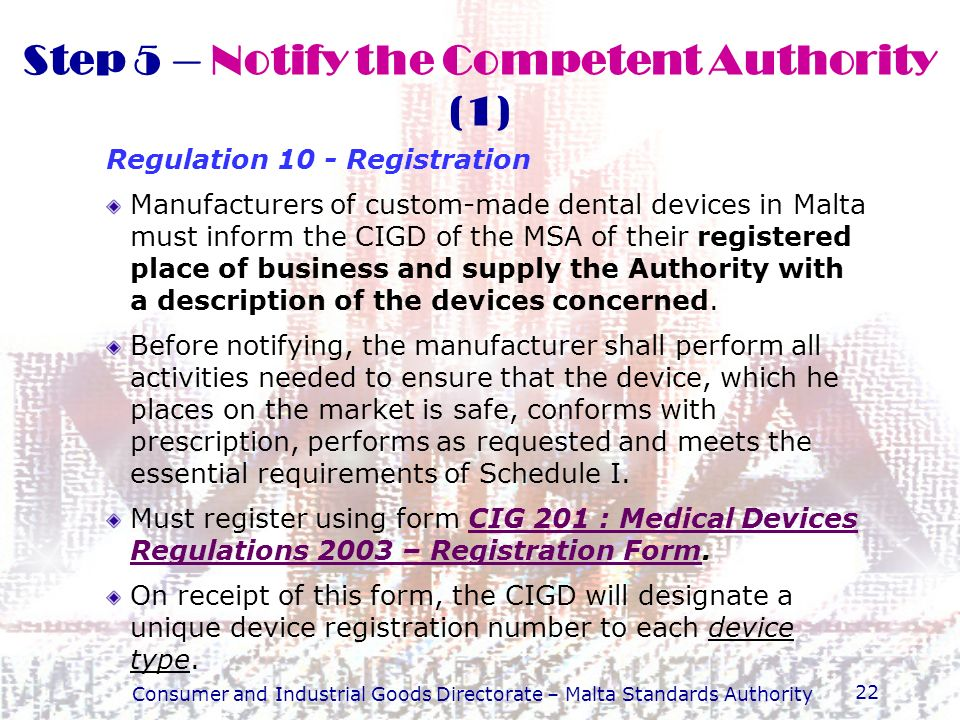 Step 5 – Notify the Competent Authority (1)