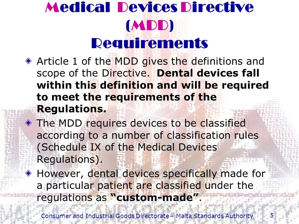 Medical Devices Directive (MDD) Requirements
