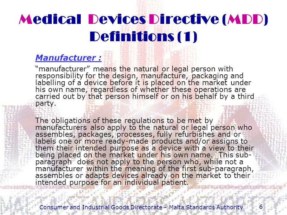 Medical Devices Directive (MDD) Definitions (1)