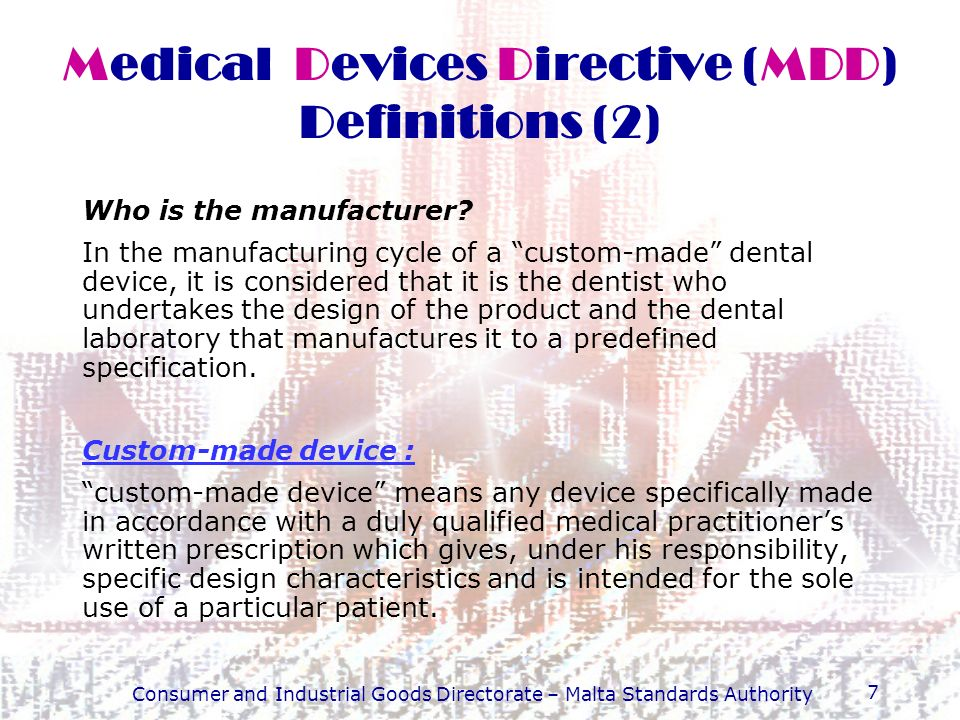 Medical Devices Directive (MDD) Definitions (2)