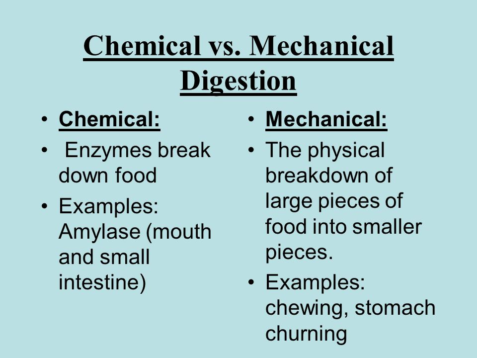 chemical changes in the large intestine These changes only alter the appearance of the substance not  chemical  breakdown of the large molecules of food into smaller  to the large intestine.