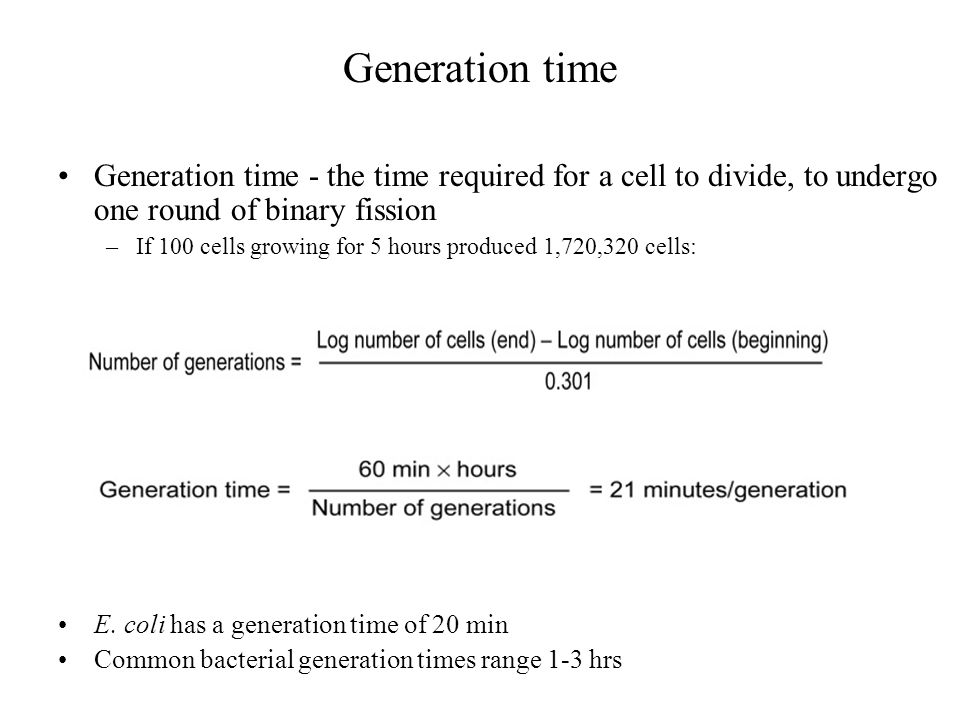 Generation time Generation time - the time required for a cell to divide, to undergo one round of binary fission.