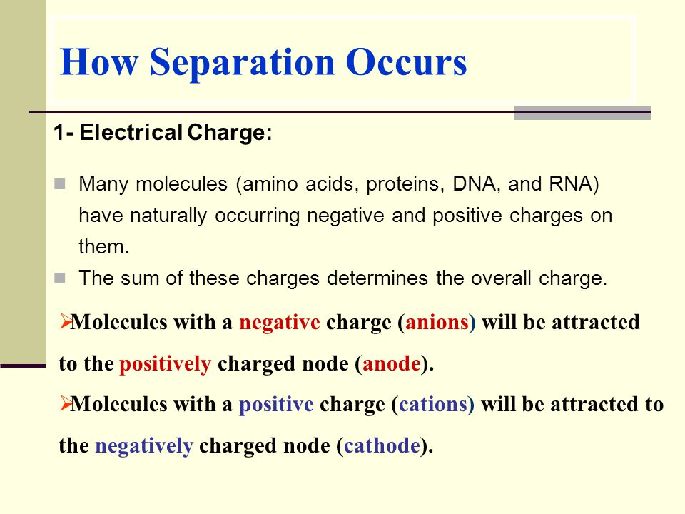 How Separation Occurs 1- Electrical Charge:
