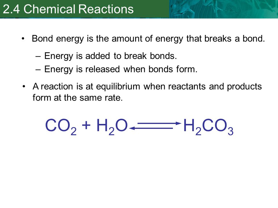 CO2 + H2O H2CO3 2.4 Chemical Reactions