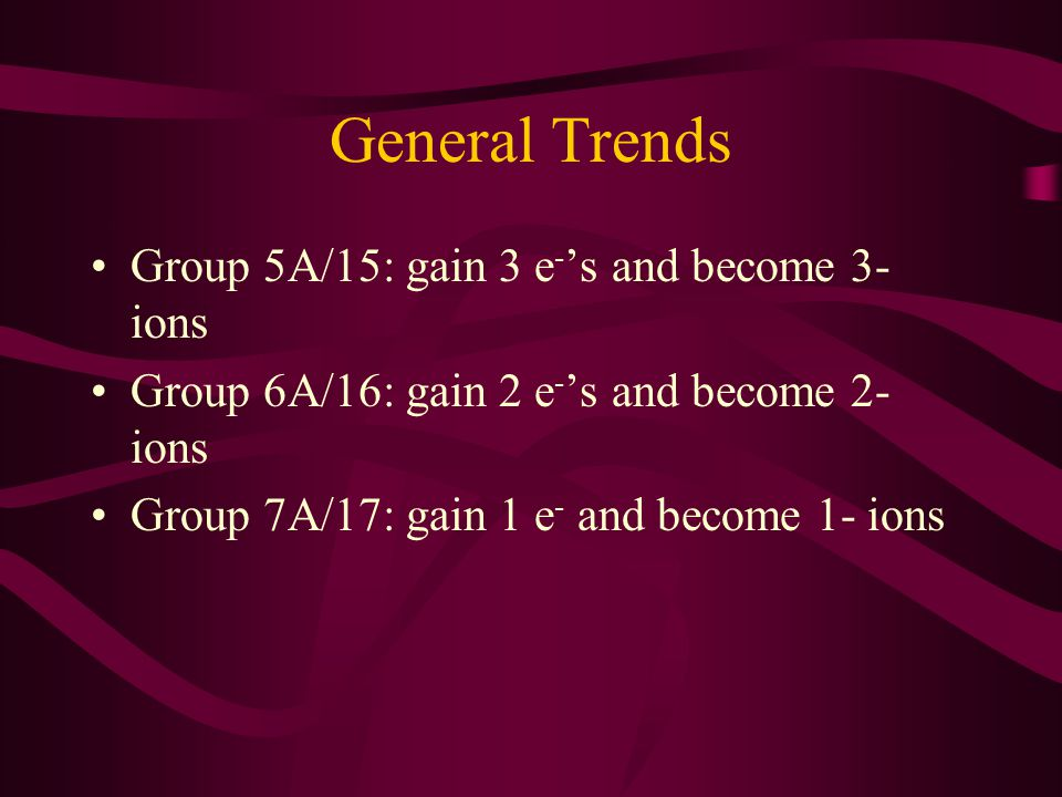 General Trends Group 5A/15: gain 3 e-'s and become 3- ions