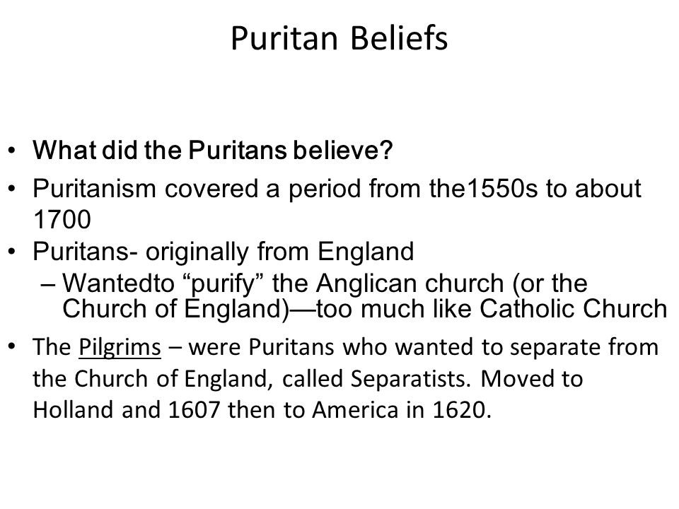 examination of puritan philosophy in bradfords Puritan ideology: irresistible grace puritanism was a group of practices and principles that created reforms in doctrine and religion the basic puritan beliefs were founded on the tulip concept it is an acronym that stands for: total depravity, unconditional election, limited atonement .