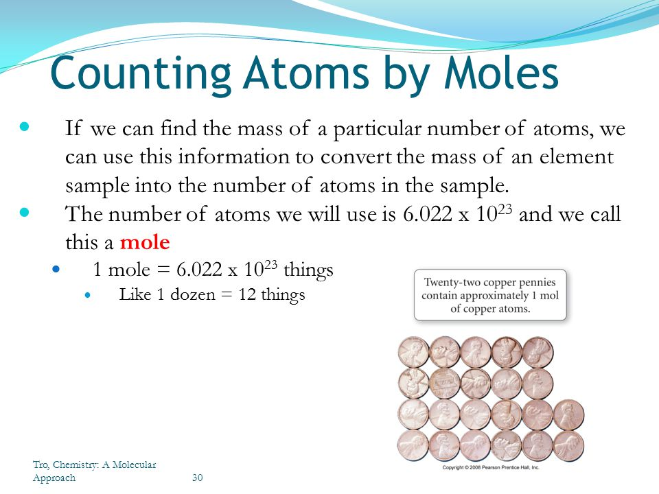how to find the number of moles in a element
