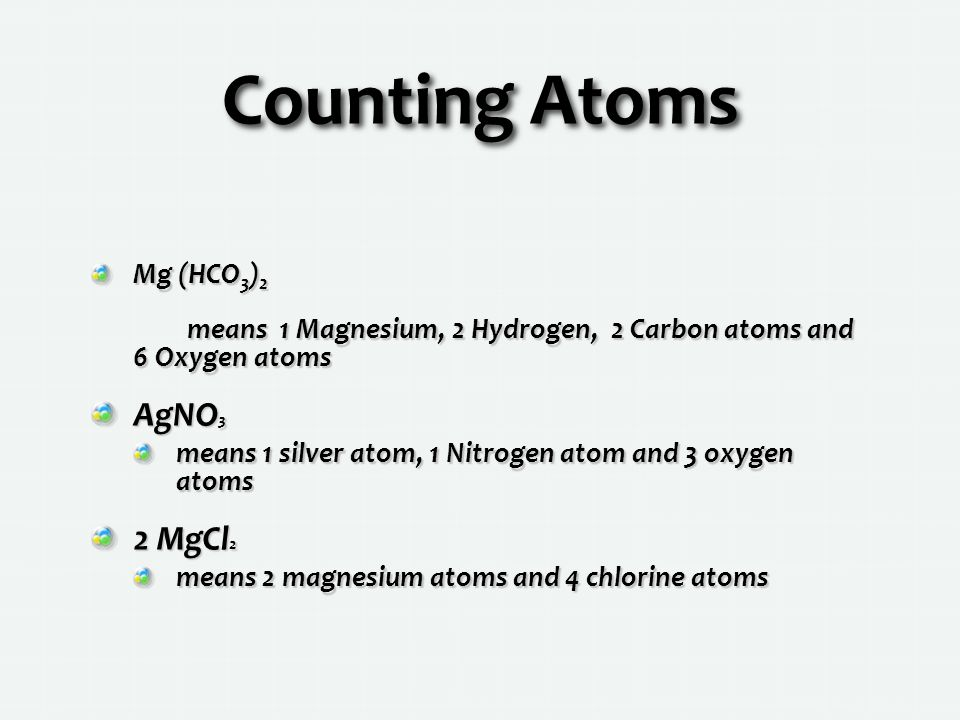 Counting Atoms AgNO3 2 MgCl2 Mg (HCO3)2