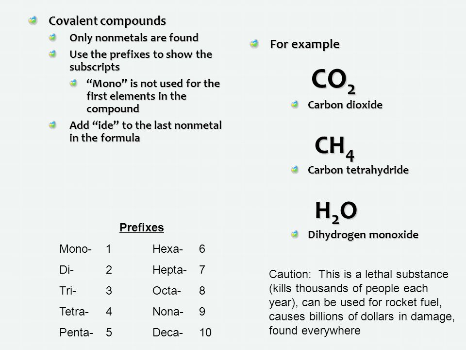 CO2 CH4 H2O Covalent compounds For example Only nonmetals are found