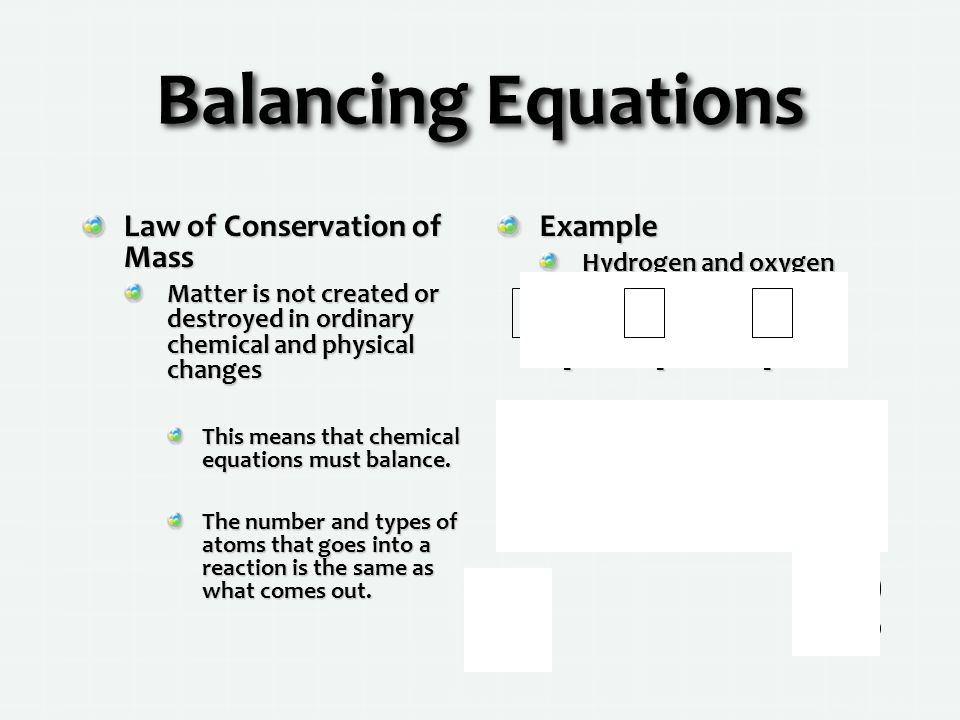 Balancing Equations + Law of Conservation of Mass Example 2 1 2