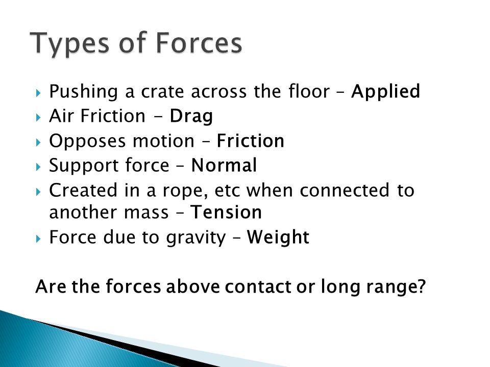 Types of Forces Pushing a crate across the floor – Applied