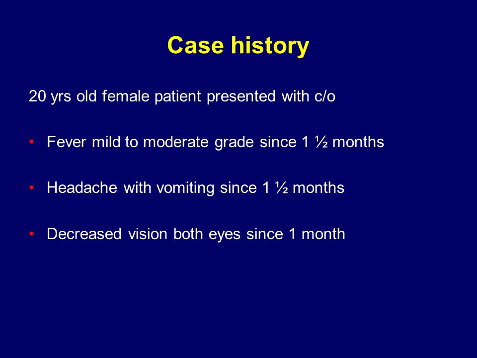 Case history 20 yrs old female patient presented with c/o