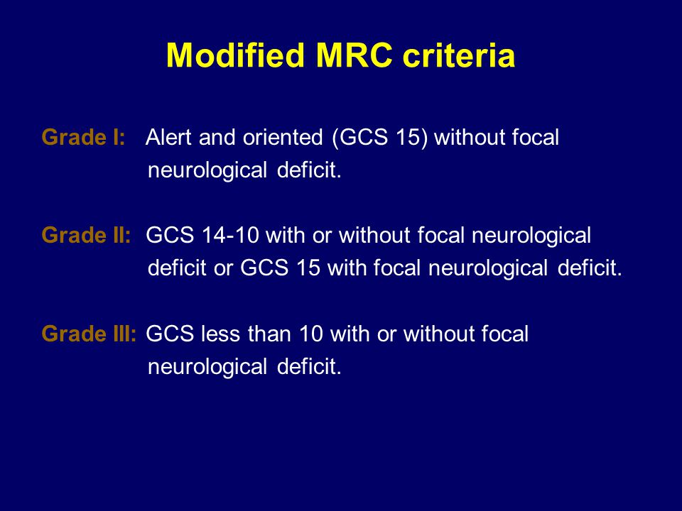 Modified MRC criteria Grade I: Alert and oriented (GCS 15) without focal. neurological deficit.
