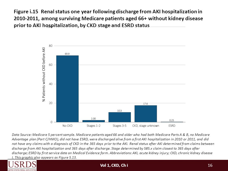 Figure i.15 Renal status one year following discharge from AKI hospitalization in , among surviving Medicare patients aged 66+ without kidney disease prior to AKI hospitalization, by CKD stage and ESRD status