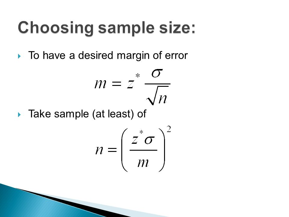 how to find sample size with margin of error