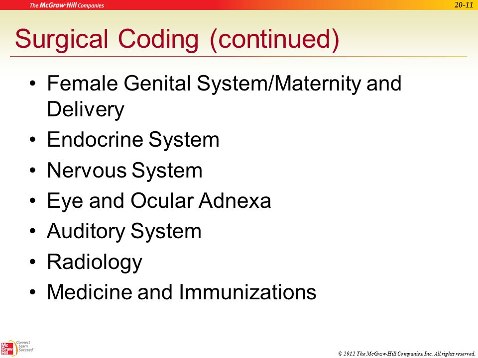 Surgical Coding (continued)