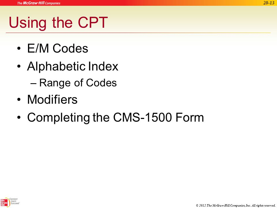 Using the CPT E/M Codes Alphabetic Index Modifiers