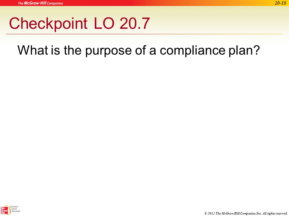 Checkpoint LO 20.7 What is the purpose of a compliance plan