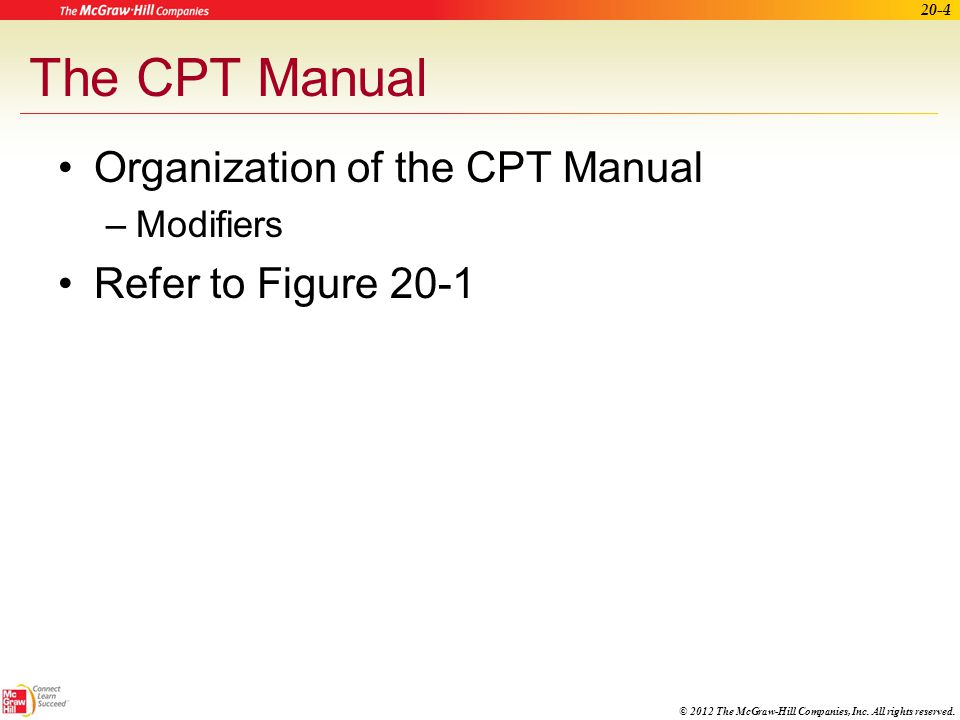 The CPT Manual Organization of the CPT Manual Refer to Figure 20-1