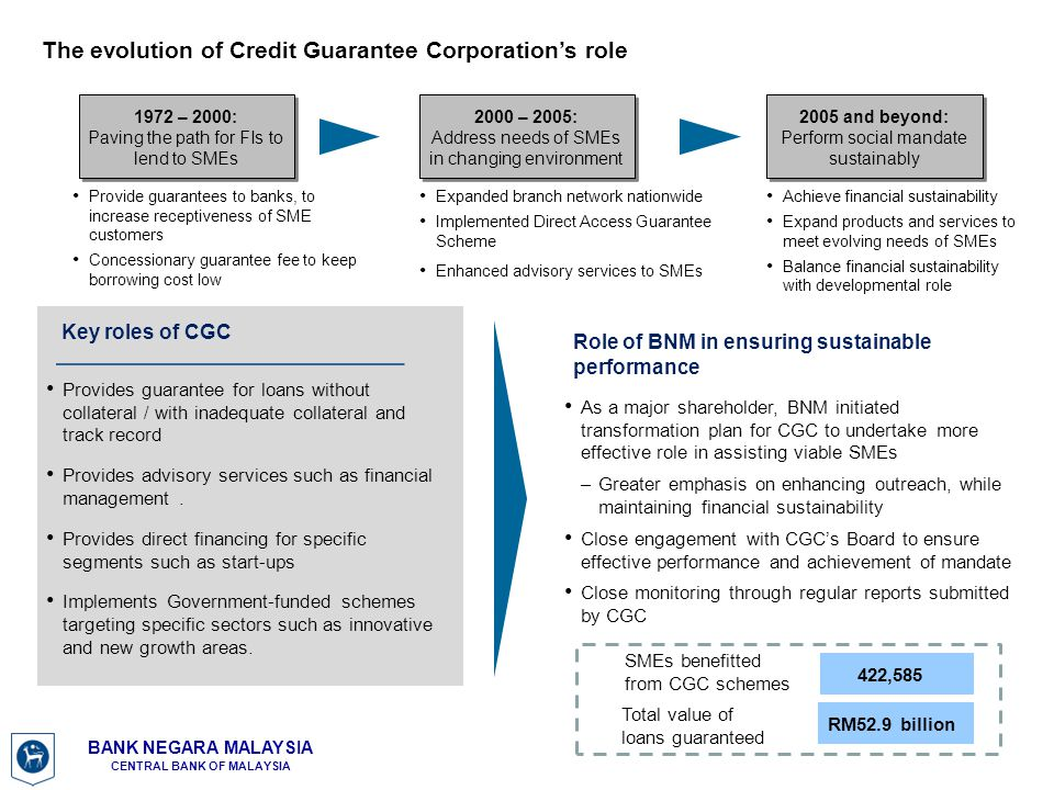 The evolution of Credit Guarantee Corporation's role