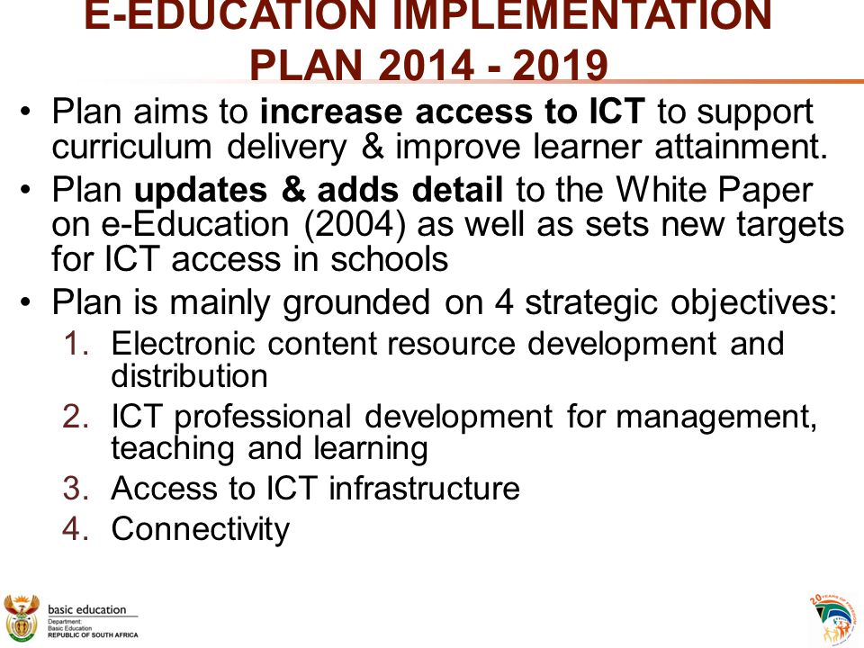 E-EDUCATION IMPLEMENTATION PLAN