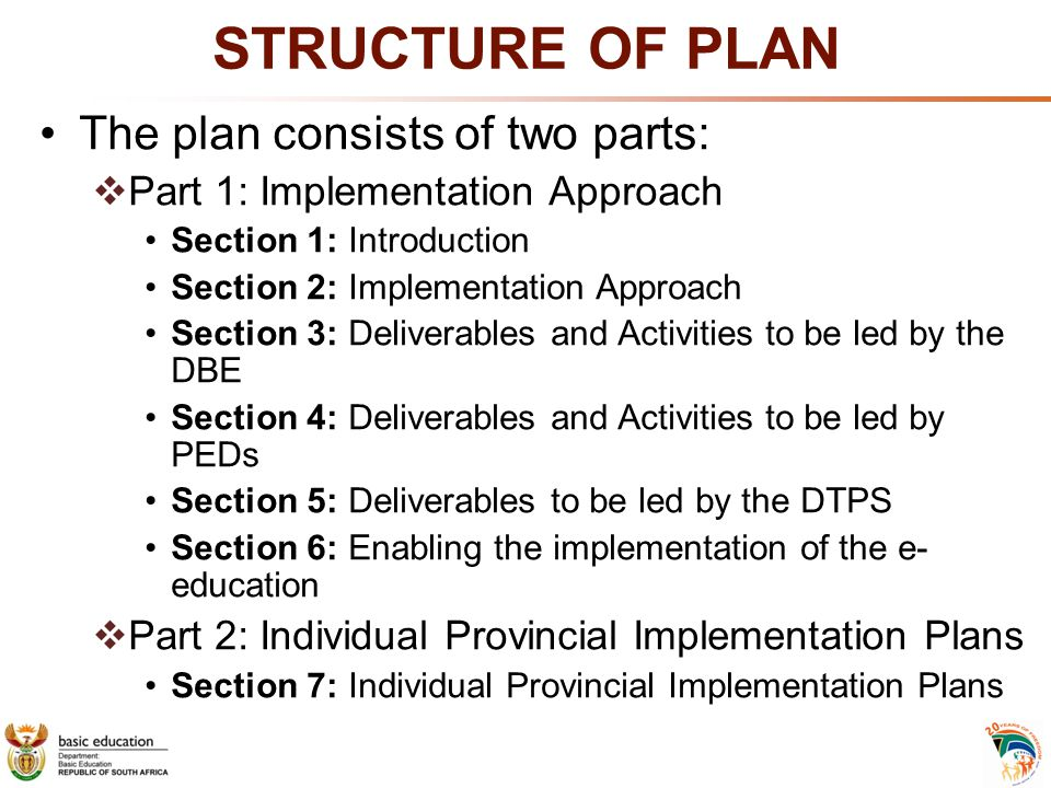 STRUCTURE OF PLAN The plan consists of two parts: