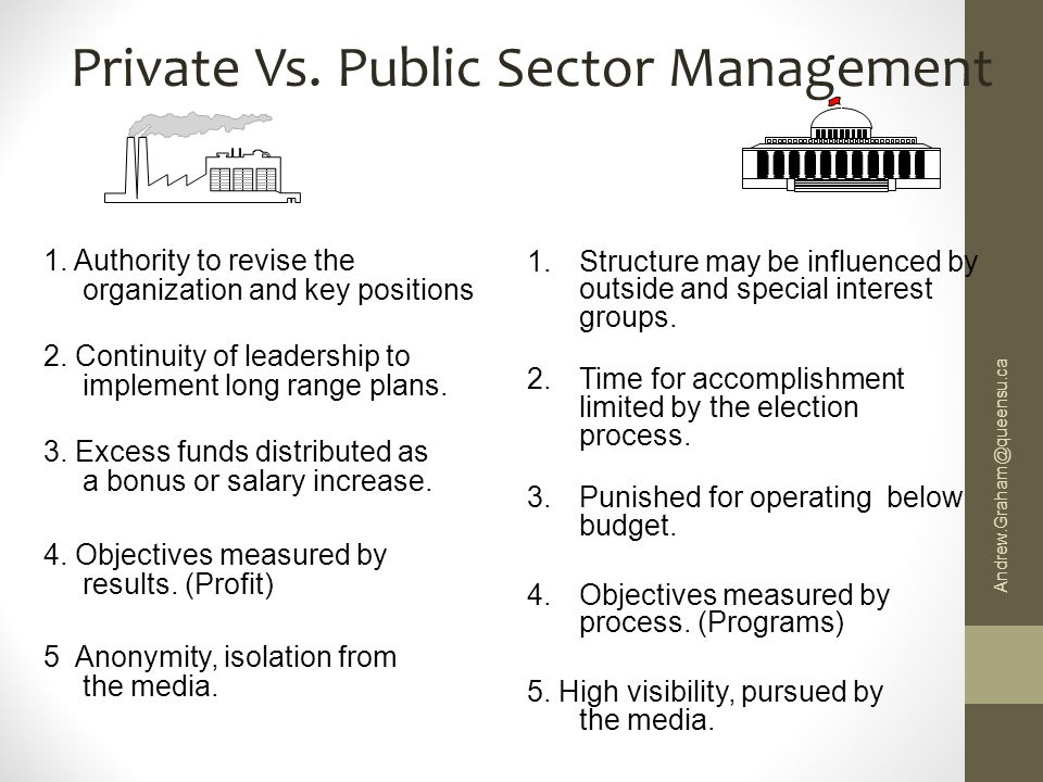 differences between public and private sector personnel administration Public vs private sectors you often hear news analysts talk about the public and private sectors although most people generally have an idea what these two terms entail, there are intricate differences between the two, which are also useful to learn about.