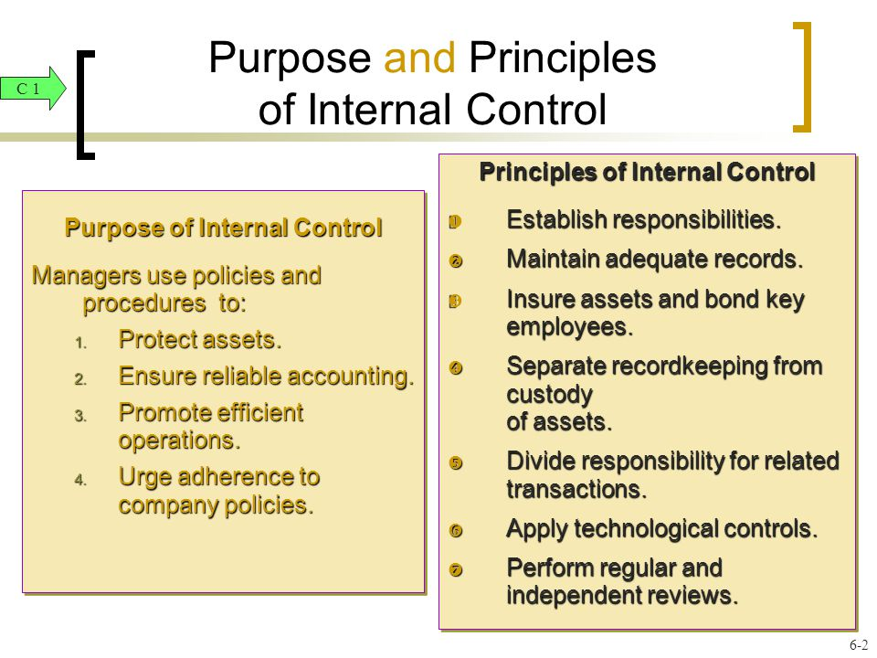 the purpose of internal controls The overall purpose of internal control is to help a department achieve its mission and accomplish certain goals and objectives an effective internal control system helps a department to.