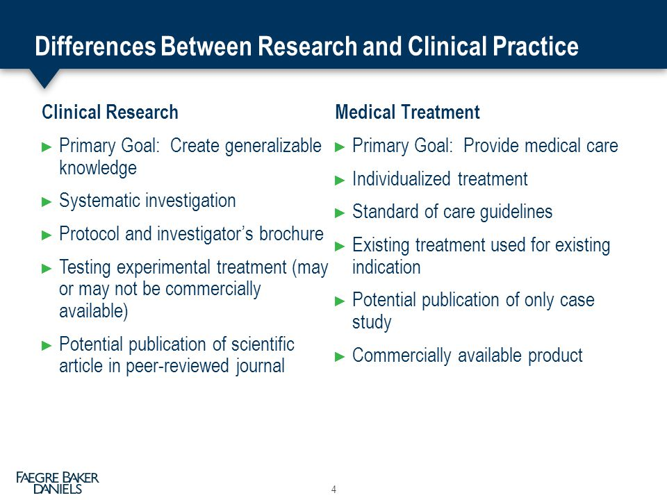 Differences Between Research and Clinical Practice