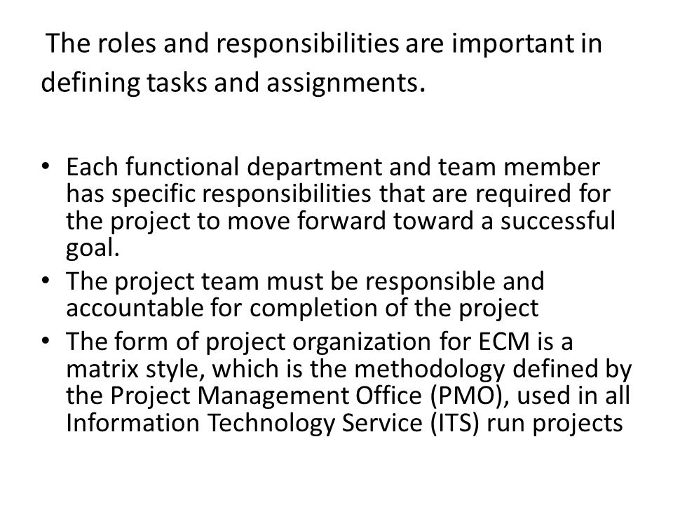 the roles and responsibilities are important in defining tasks and assignments - Information Technology Responsibilities