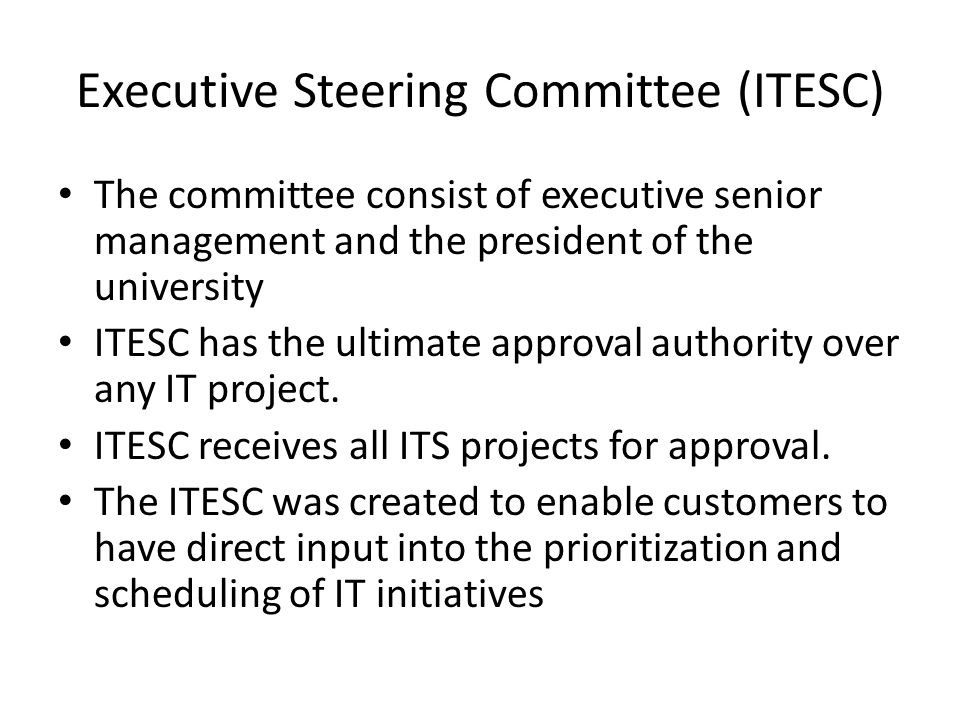 Executive Steering Committee (ITESC)