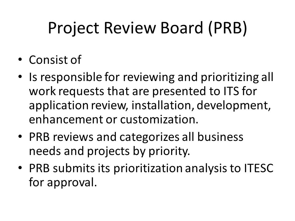 Project Review Board (PRB)