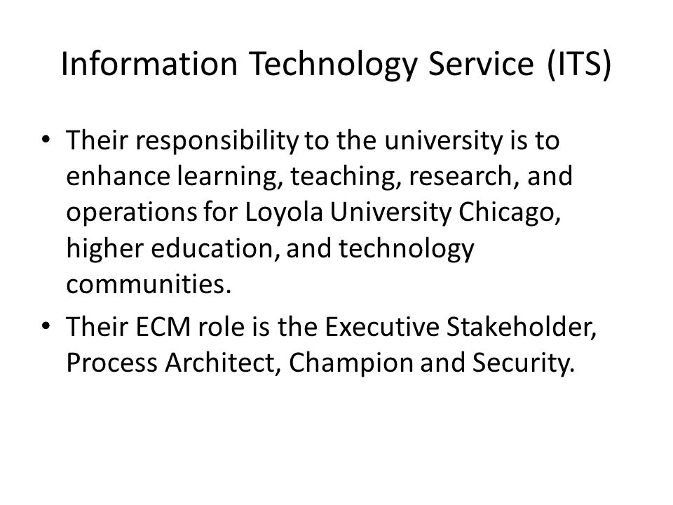 8 information technology - Information Technology Responsibilities