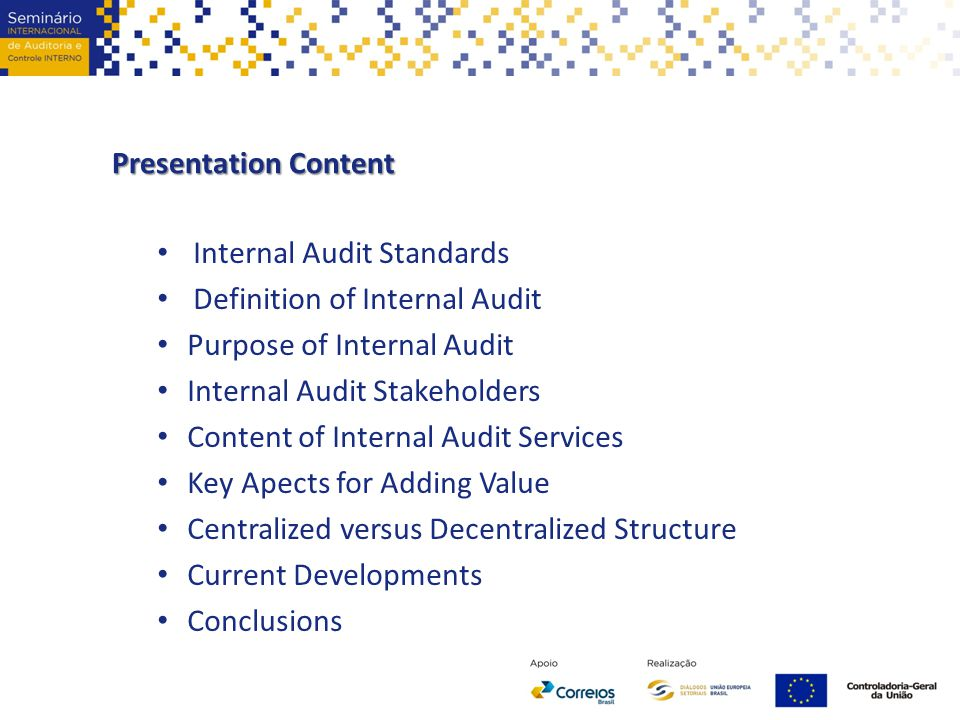 purpose of the internal audit Internal auditing is an independent, objective assurance and consulting activity  designed to add value and improve an organization's operations it helps an.