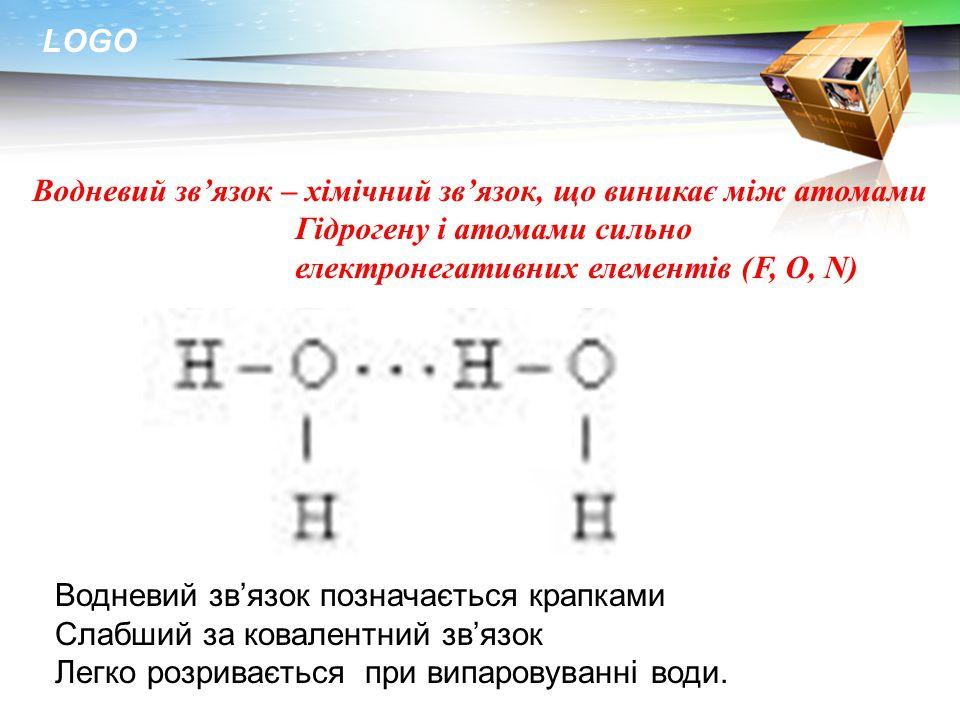 Водневий зв'язок – хімічний зв'язок, що виникає між атомами Гідрогену і атомами сильно електронегативних елементів (F, O, N)