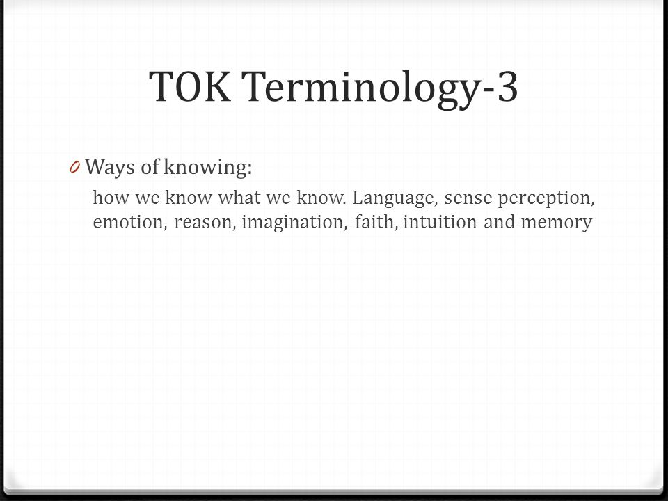 """tok essay ways of knowing The essay shows some awareness of knowledge questions related to the title, but the level of exploration is weak and not fully focused on the title the focus on the ways of knowing being responsible for instinctive judgements rather than acting as """"checks"""" is problem in this essay."""