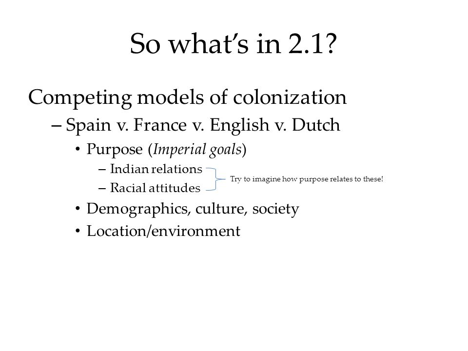 So what's in 2.1 Competing models of colonization