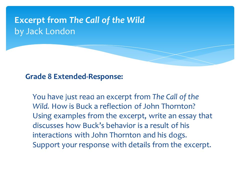 critical essay on call of the wild Commoncoreorg/wheatley 2 the call of the wild by jack london ˜˚˛˝˙˚˛ˆ˜ˇ˛˘˝ ˜ ˇ as the performance assessment for this text study, students will identify one of a number of themes in the chapter.