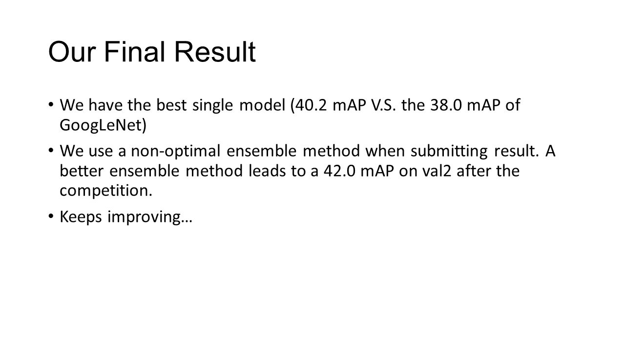 Our Final Result We have the best single model (40.2 mAP V.S. the 38.0 mAP of GoogLeNet)
