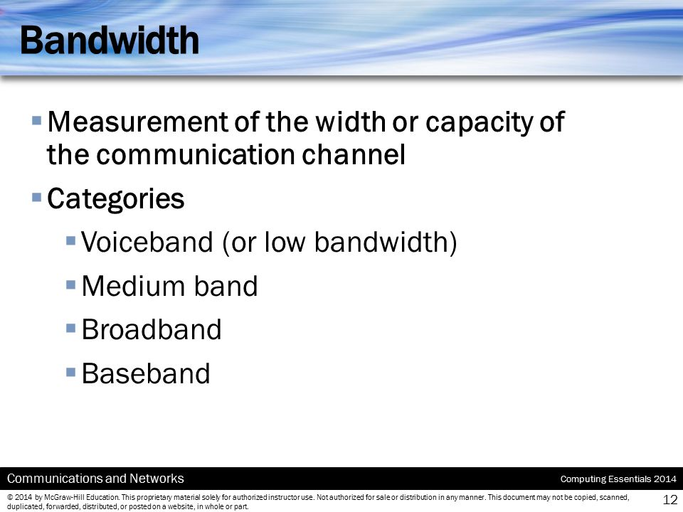 Bandwidth Measurement of the width or capacity of the communication channel. Categories. Voiceband (or low bandwidth)